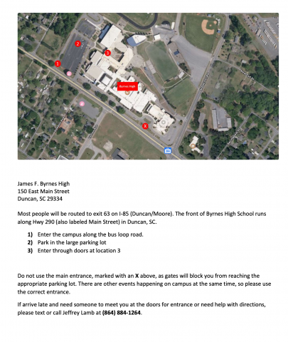 Map and directions for the Spartanburg Advocacy Training